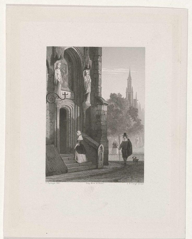 Johannes Philippus Lange | Vrouw betreedt een kerk, Johannes Philippus Lange, Koenraad Fuhri, 1848 | Een vrouw loopt richting de toegangsdeuren van een kerk. Rechts komt een man met hoed en wandelstok naderbij, gevolgd door een hond.