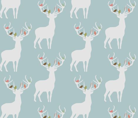 not_alone_winter_spoonflower fabric by troismiettes on Spoonflower - custom fabric