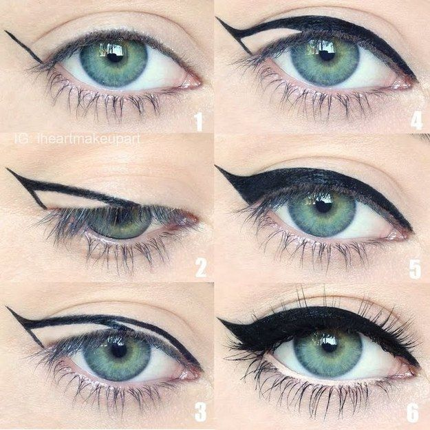 For a quick trick to get a perfect cat eye, draw an acute triangle from the middle of your lid outward and fill it in.