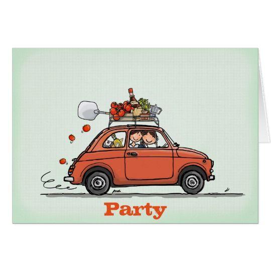 Invitation Greeting Card Vintage Fiat 500 Kaart