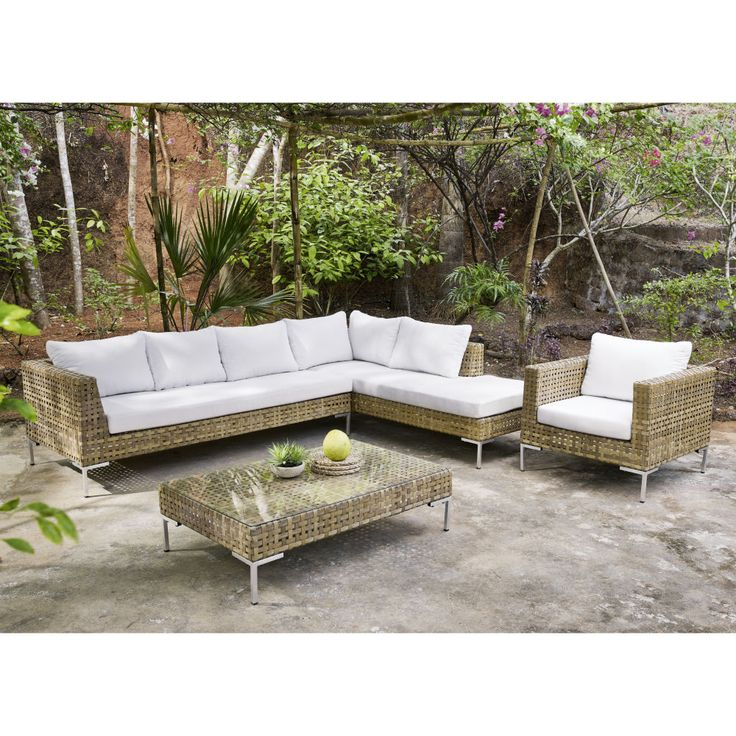 Captivating Brown 6 Seater Resin Wicker Garden Corner Sofa