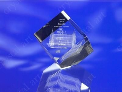 CRYSTAL GLASS CUBE PAPERWEIGHT or AWARDS