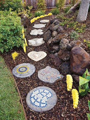 Path with mulch and stepping stones.  An ultimate path to my liking.