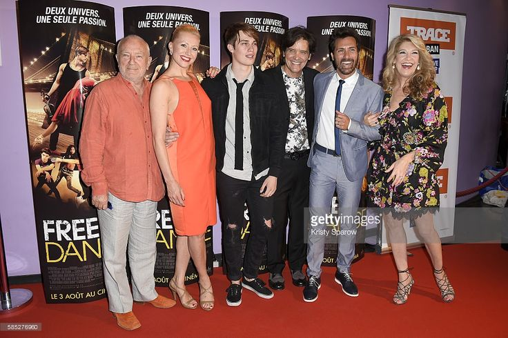 Director Paul Freeman, Moulin Rouge Dancer Caroline Renno-Raynal, Actor Nicholas Galitzine, Director Michael Damian, guest and Producer Janeen Damian attend the 'Free Dance' Paris Premiere at Gaumont Aquaboulevard on August 2, 2016 in Paris, France.