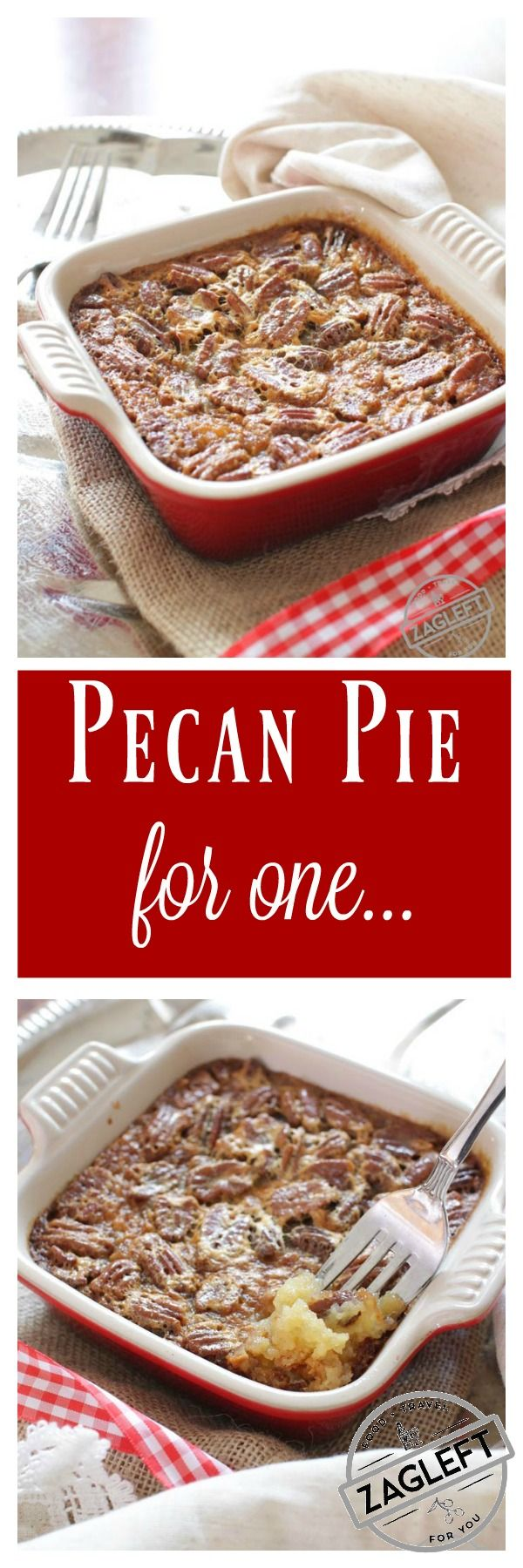 This Pecan Pie For One has all the flavors you love in a pecan pie. It's made with a buttery shortbread crust and a rich, pecan filled filling. This single serving dessert is perfectly sweet, it's filled with pecans and best of all, it's easy to make. | ZagLeft