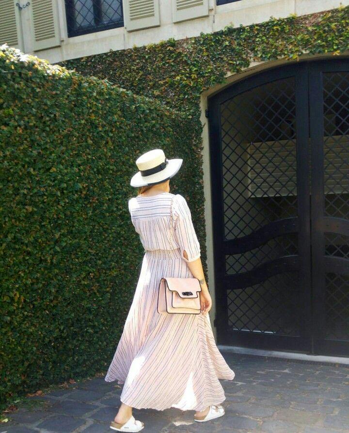 Summer Outfit Inspo.  #spellbyronbay #dress #summer #hat #birkenstocks #pink #white #outfitinspo