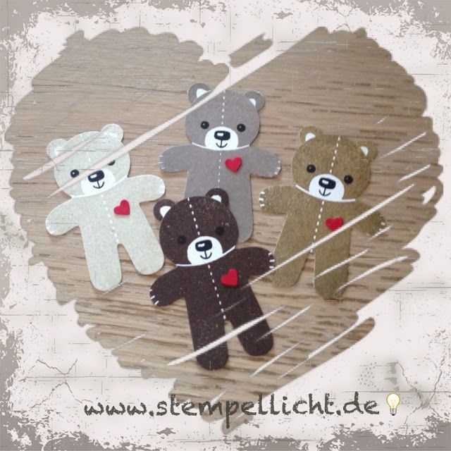 card critter bear Cookie Cutter stamp & punch; Warmth & Cheer DSP; simple card; Stampin Up Holiday Catalogue 2016 Stempellicht: Der Bär ist los :0)
