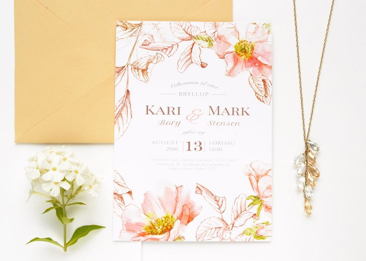 """Wedding invitation suite """"Briar"""" in 3 colour options. Design is based on watercolor painting and ink hand-drawing. Akvarelldesign.com"""