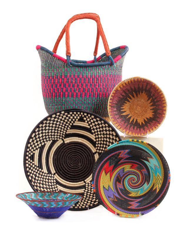 Shown Here: #Ghana #Bolga Yikene Tote; #starburst Pattern Bowl From  #Namibia; #blackandwhite Bowl From #Uganda; Woven #wire #Zulu Bowl; ...