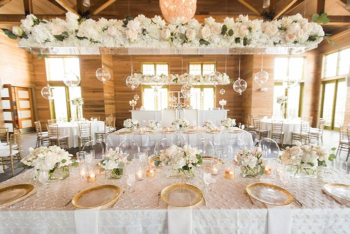 Modern Hanging Centerpiece over White and Gold Reception Tables    #wedding #weddingday #aislesociety #glam #luxewedding #flowers #centerpiece #weddingdecor #tablescape
