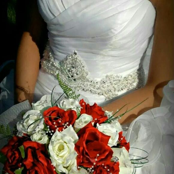 Galina signature wedding gown Only 3 years old and kept in storage, this dress is beautiful! Only wore a couple hours, and has NOT been altered. Does have bustle for train and will come with matching veil as shown. Size 2 dress is a Galina signature from davids bridal Galina  signature  Dresses