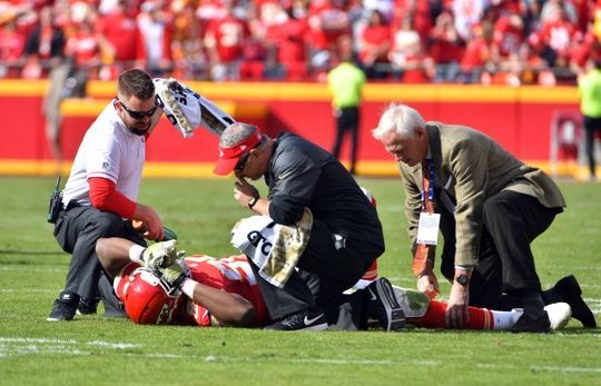 Jaguars vs. Chiefs  -  19-14, Chiefs  -  November 6, 2016  -  Nov 6, 2016; Kansas City, MO, USA; Kansas City Chiefs defensive end Chris Jones (95) is tended to on field after an injury during the first half against the Jacksonville Jaguars at Arrowhead Stadium. The Chiefs won 19-14. Mandatory Credit: Denny Medley-USA TODAY Sports