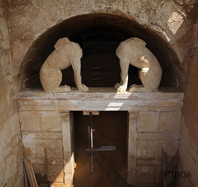 This image was released by the Greek Ministry of Culture on Aug. 25, after excavators cleared enough sealing stones and soil to reveal the full doorway.