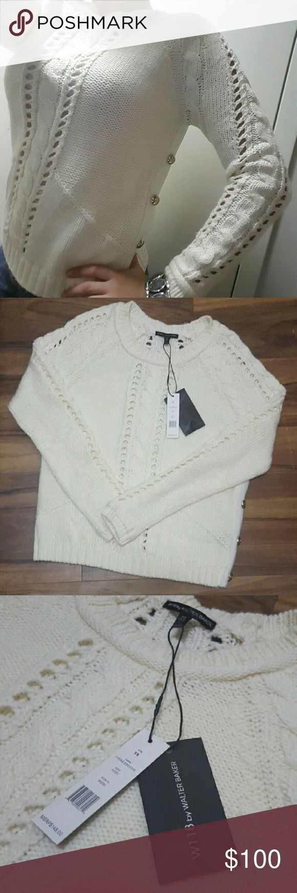 W118 by Walter Baker Cable Knit Sweater (NWT) White cable knit sweater by W118 By Walter Baker. Brand new with tags. Silver crown button detailing on the side. All 4 buttons still in tact. Extra buttons included. Size XS. Very warm and cozy, perfect for the winter! Price is negotiable. W118 by Walter Baker Sweaters Crew & Scoop Necks