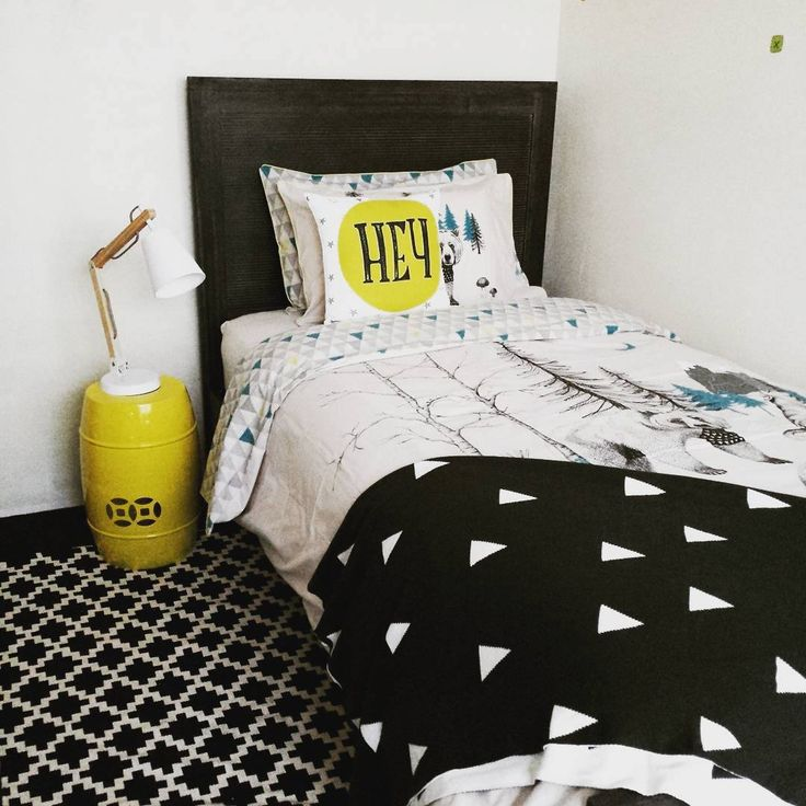 Black, white and yellow do it again!  Instagram user joiedevivreinteriors made our Palm Beach timber bed the star of her little boy's bedroom. Reports say he loves it and so do we! #mybedshed