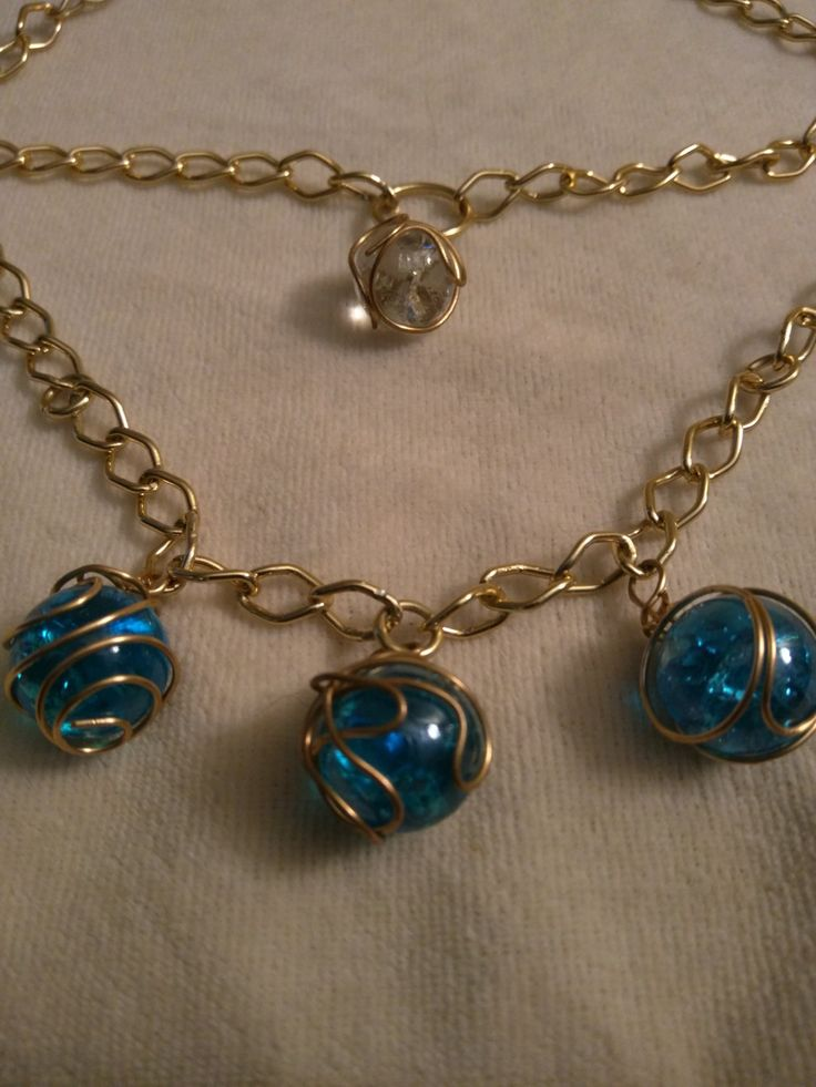 4 Crystal Ball Cracked Gold Plated Multi-Chain Necklace by SassieDiva on Etsy