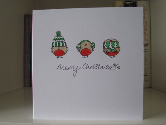 Handmade Christmas Card drawn and painted by by Creativemumathome