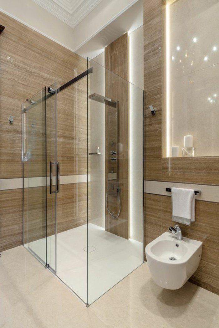 faire une douche à l italienne , salle de bain contemporaine en taupe