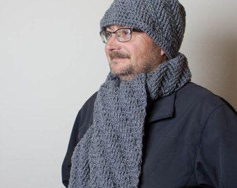 Conjunto crochet gorro y bufanda para hombre, conjunto de bufanda de ganchillo sombrero, accesorios de invierno de los hombres
