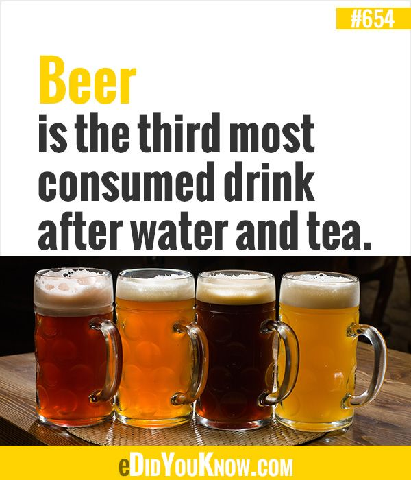 Beer is the third most consumed drink after water and tea.