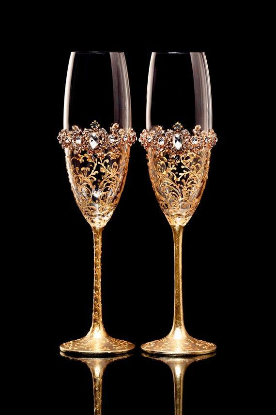 Personalized Glasses Gold Wedding Glasses With Crystals Bride