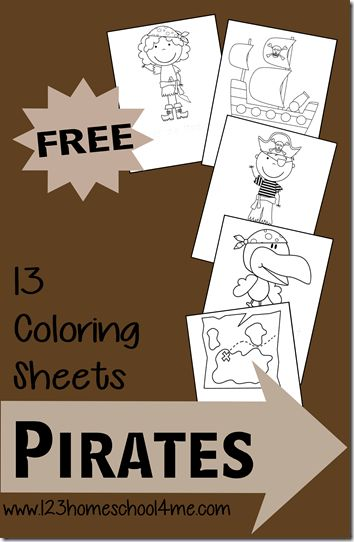 123 Homeschool 4 Me has a FREE set of Pirate Coloring pages. These are a great way to strengthen fine motor skills.