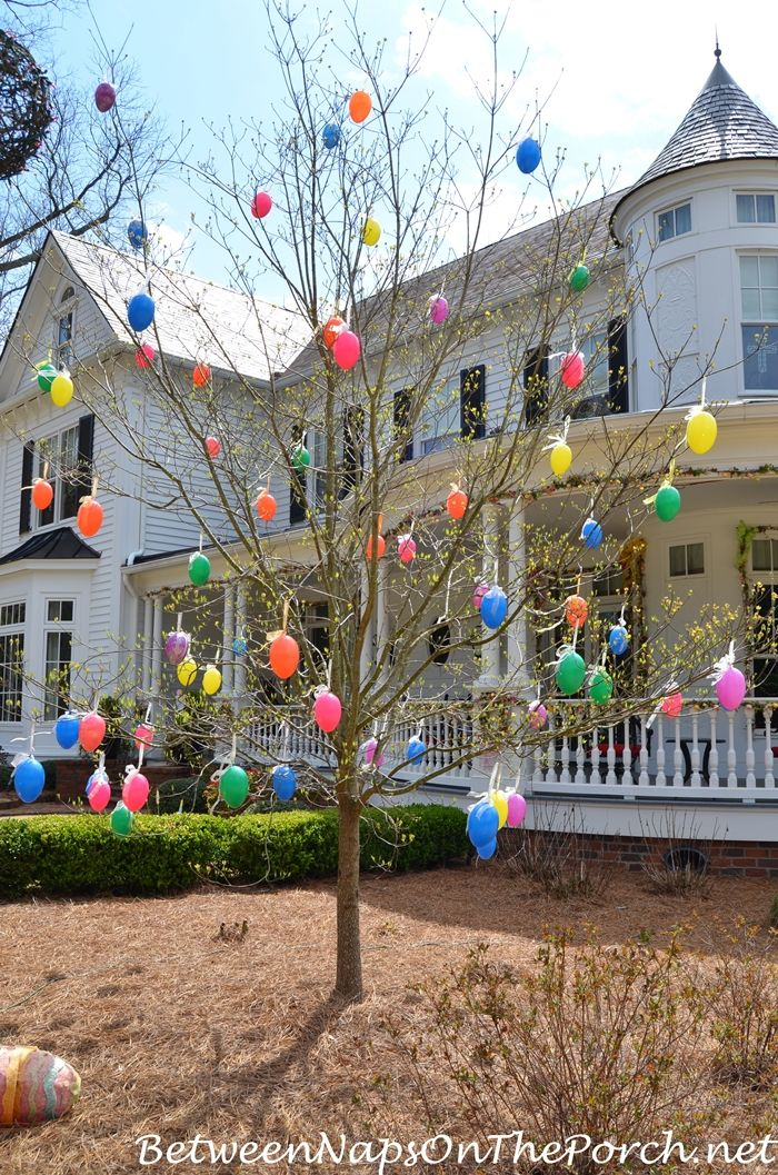 Tree Decorated with Colorful Easter Eggs