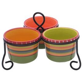 "Three ceramic bowls held together with a scrolling stand. Bowls are hand-painted with a Southwestern stripe motif.     Product: Stand and three bowlsConstruction Material: Ceramic and metalColor: MultiFeatures:  Designed by Nancy GreenHand-painted Dimensions: 7.5"" H x 9.75"" W x 9.75"" D (overall)Cleaning and Care: Dishwasher and microwave safe"