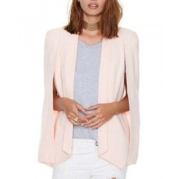Beige Open Sleeve Tailored Blazer With Slim Lapel JA0150002-1
