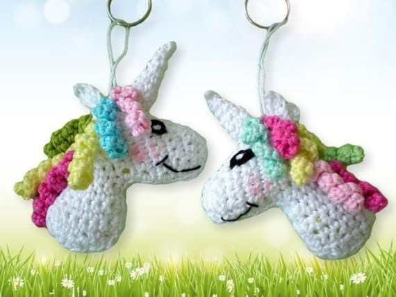 Pendant, Keychain Crochet Unicorn, Car Key Pendant, Keychain Charm PATTERN