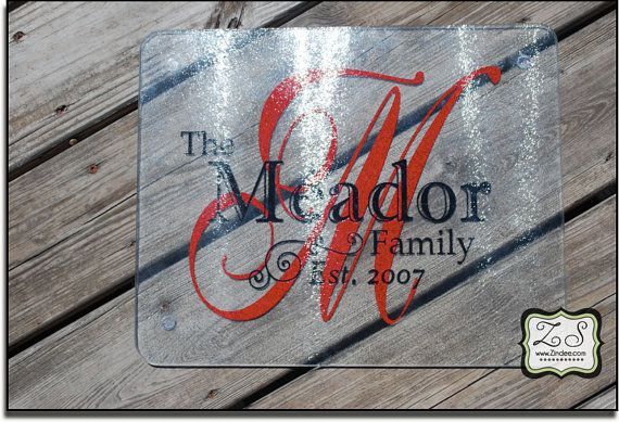 Personalized Glass Cutting Board 15w x 12h by Zindee on Etsy