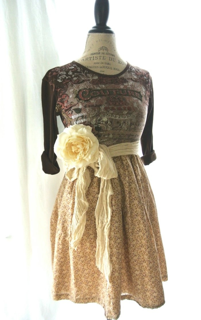 Gypsy Cowgirl Fall Dress Funky Womens Clothing Upcycled Country Chic Shabby