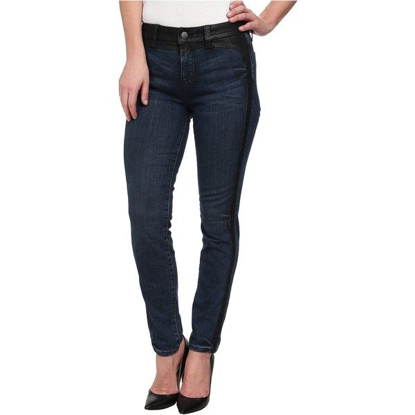 Miraclebody Jeans Haley Jean Saddle Jeans in Salem Blue (Salem Blue)... ($38) ❤ liked on Polyvore featuring jeans, black, stretchy jeans, blue jeans, shiny jeans, embroidered jeans and 5 pocket jeans