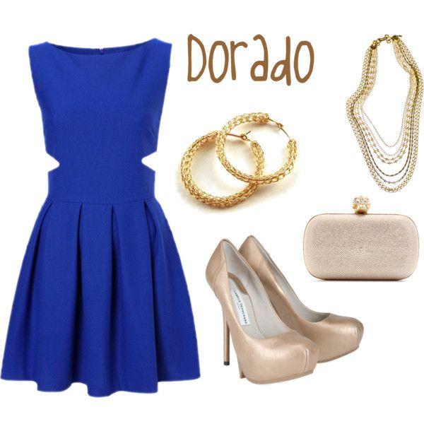 Vestido azul com dorado