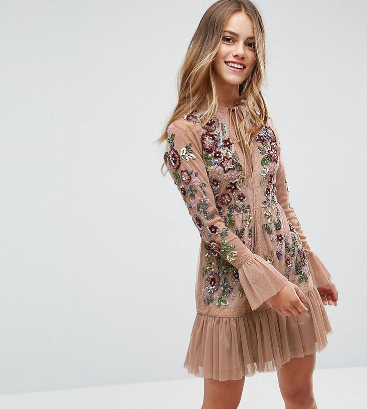 Frock And Frill Petite Allover Premium Embellished Fluted Hem Detail S