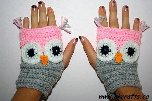 Crochet Owl Wrist Warmers - free pattern