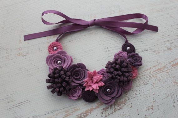 Wool Felt Flower Bib Necklace - Shades of Purple- Open Satin Ribbon Tieback