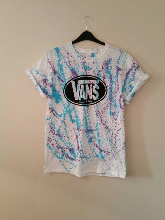 Unisex medium acid wash, tie dye, Vans T-shirt