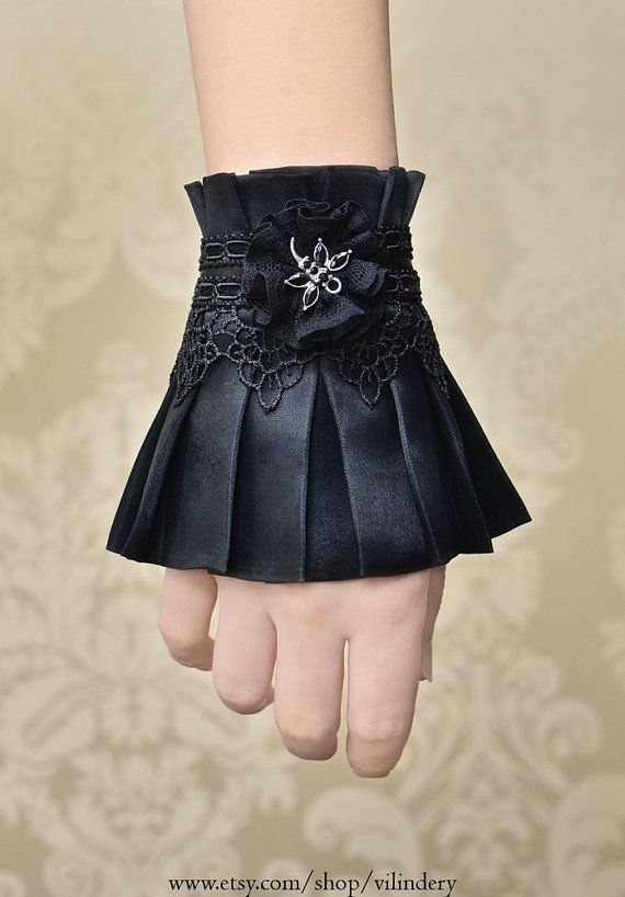 Little Gothic Victorian Cuff Bracelet with Dragonfly by Vilindery, $17.00