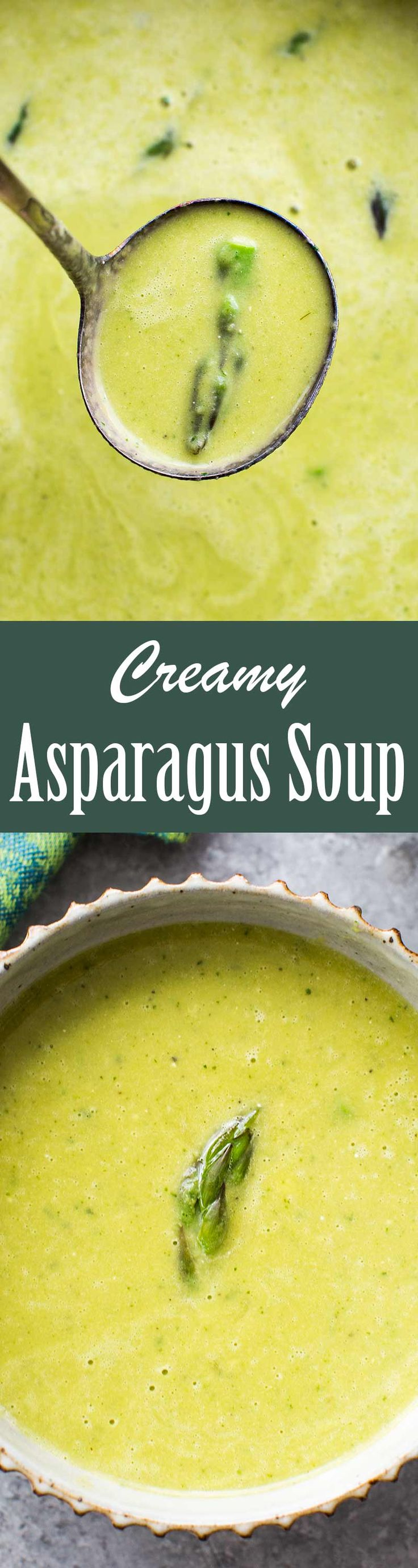 Creamy Asparagus Soup! Quick and EASY asparagus soup in a base of stock, cream, and onion, seasoned with thyme and dry vermouth. Creamy and delicious! Gluten-free too.