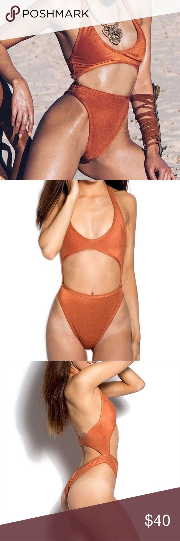 Sexy velvet cut out onepiece monokini Solid orange velevet cut out monokini onepiece swimsuit. Stretchy fabrication Swim One Pieces