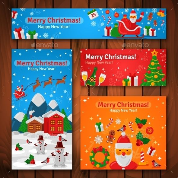 Flat Design Christmas And New Year Greeting Cards