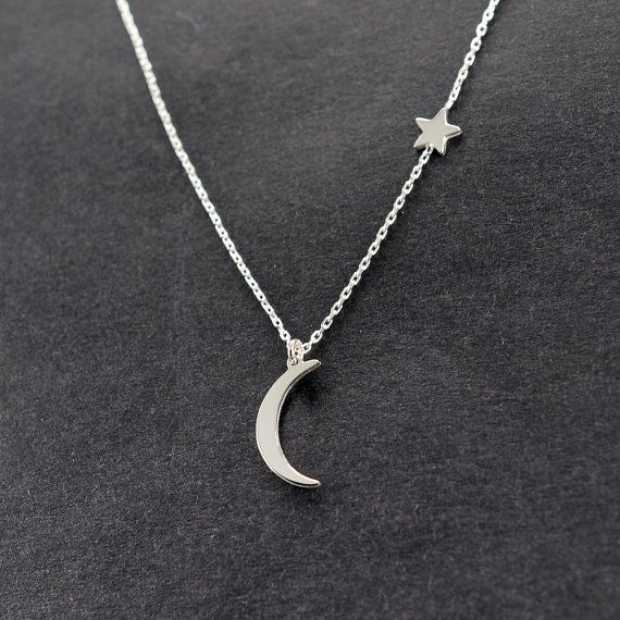 Mond und Sterne Halskette Halbmond Halskette Gold von AtelyeSade