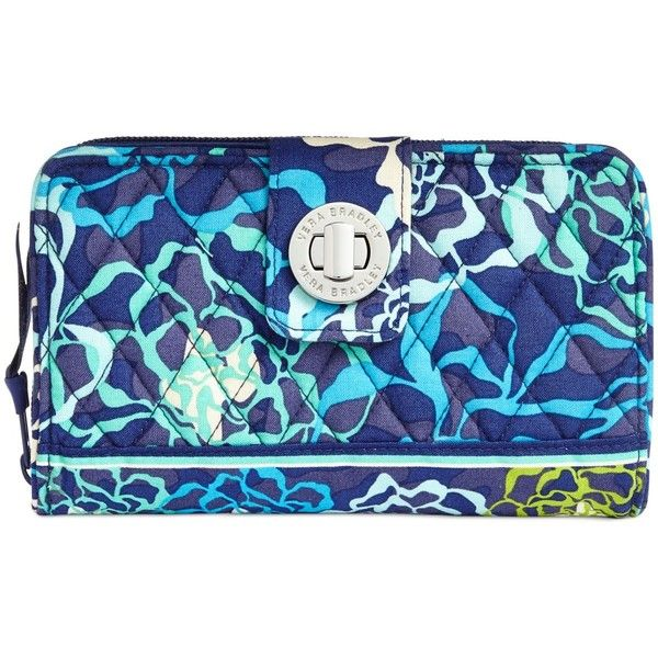 Vera Bradley Turn Lock Wallet ($49) ❤ liked on Polyvore featuring bags, wallets, katalina blue, clasp wallet, turnlock wallet, blue bag, pattern bag and vera bradley bags
