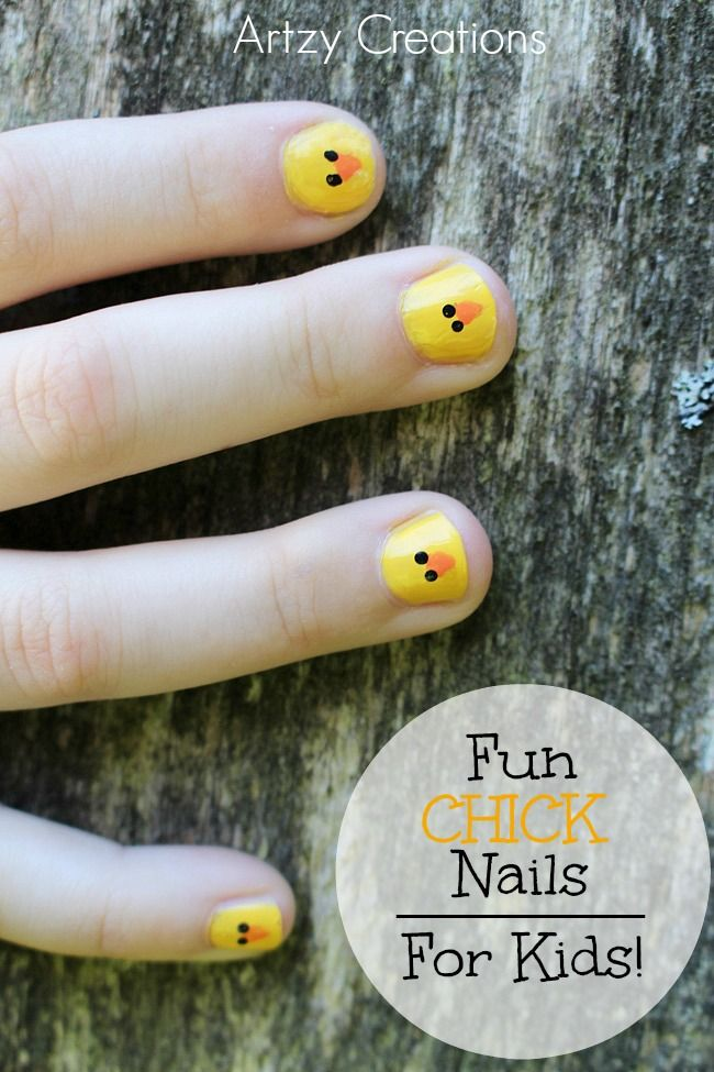 Make these fun and simple CHICK nails with your kids.  This was a big hit at my daughter's last sleepover.