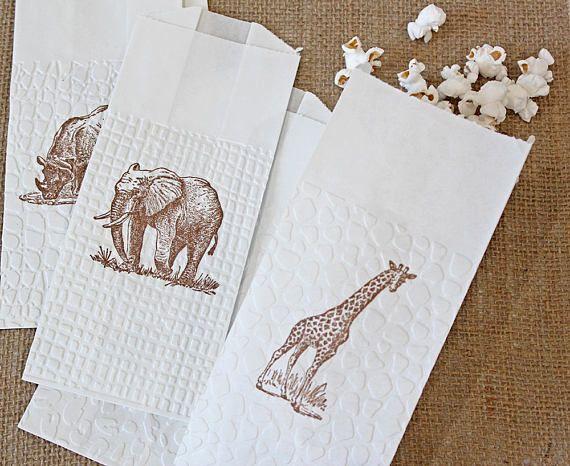 Safari Animals Popcorn Favor Bags Sold in sets of 6 bags per