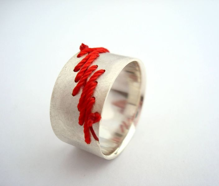 Scar Ring - Sterling Silver with Silk Thread an...