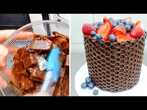Simple CHOCOLATE Decoration Cake - MICROWAVE Chocolate Melting by CakesStepbyStep - YouTube