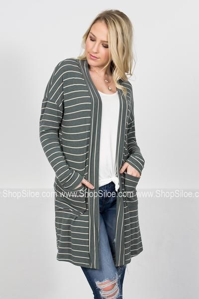 Sarah Sage Striped Cardigan