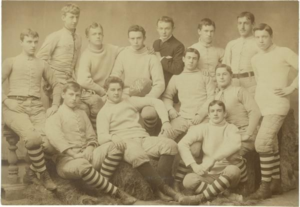 "1893 Imperial Cabinet Of Football Player Killed In Game. Pencil writing on the back indicates ""Framed on Saturday Nov. 11 1893 by P.B. Cosgrove, the date of the death of Mr. Hugh Saussa member of this team who was killed during the game''. $205"
